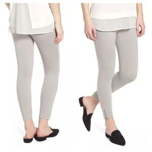 Lysse' Mini Zip Crop Leggings Chalk Grey Small 4-6